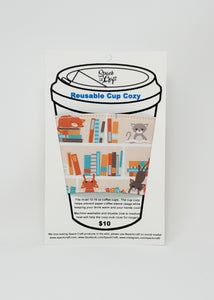 Reusable cup cozy - Cats in the Library in package