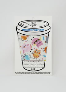 Reusable cup cozy - Pink Owls -  in package
