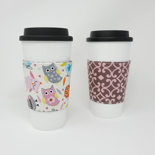 Reusable cup cozy - Pink Owls -  both sides displayed on a coffee cup