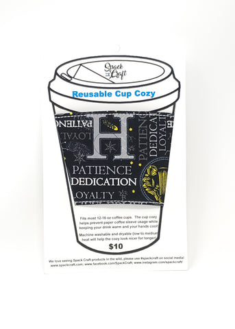 Reusable cup cozy - Hufflepuff Words - in packaging