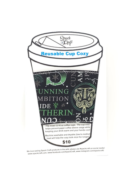 Reusable cup cozy - Slytherin Words - in packaging