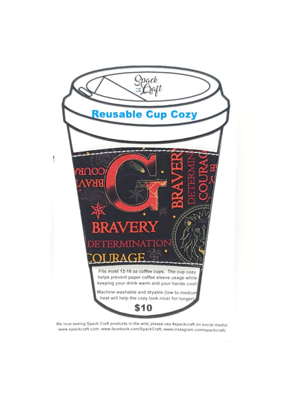 Reusable cup cozy - Gryffindor Words - in packaging