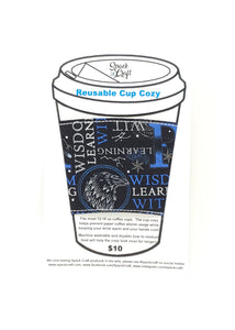 Reusable cup cozy - Ravenclaw Words - in packaging