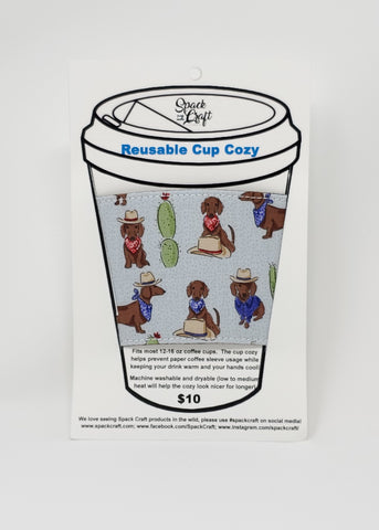 Reusable cup cozy - Cowboy Weens - in packaging