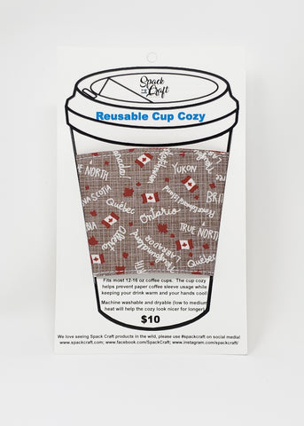 Reusable cup cozy - Canadiana - in packaging