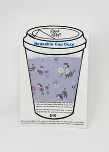 Reusable cup cozy - Purple Poodles - in packaging