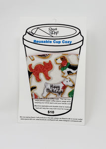 Reusable cup cozy - Holiday Animal Cookies - in packaging