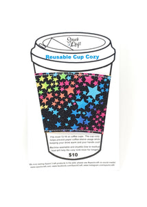 Reusable cup cozy - Glitter Rainbow Stars - in packaging