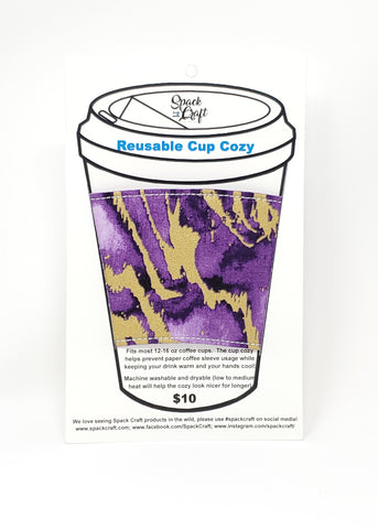 Reusable cup cozy - Purple Reef - in packaging