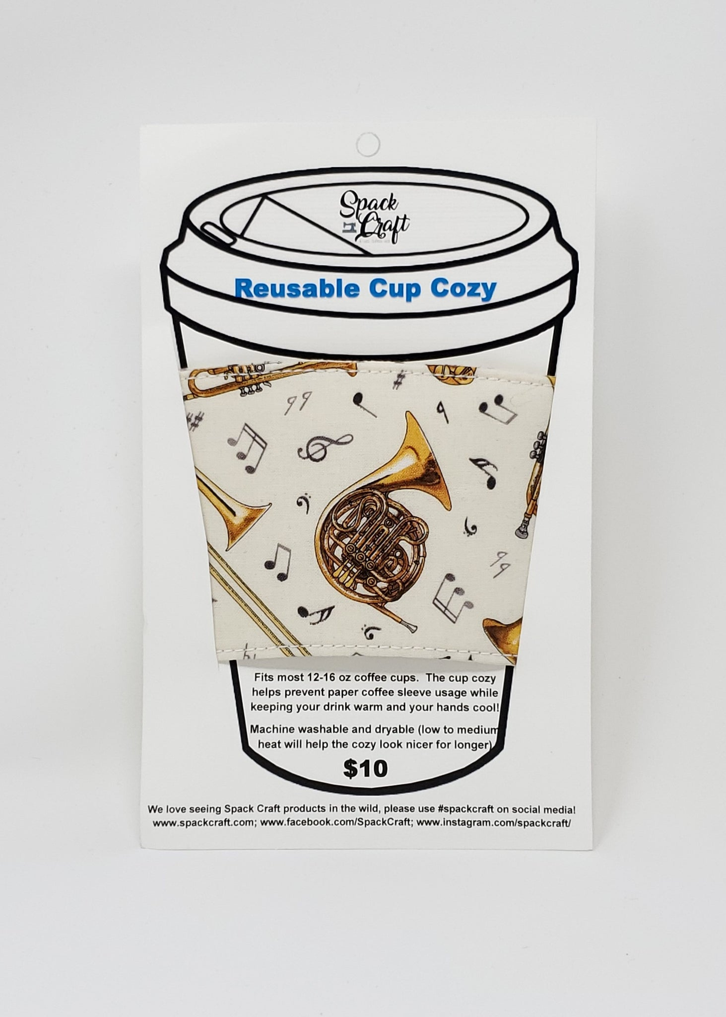 Reusable cup cozy - Musical Instruments - in packaging