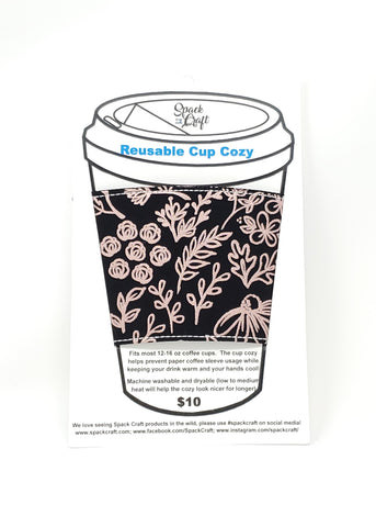 Reusable cup cozy - Rose Gold Outlines - in packaging