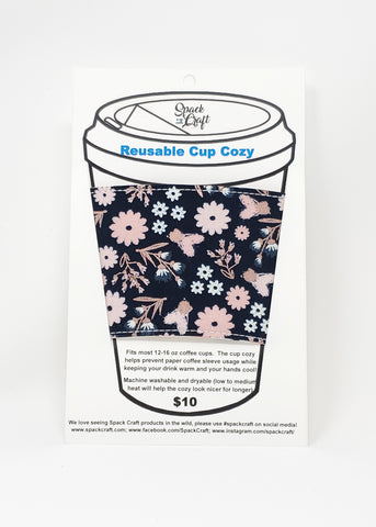 Reusable cup cozy - Rose Gold Flowers - in packaging