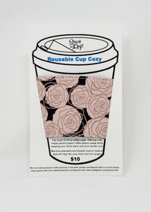 Reusable cup cozy - Rose Gold Roses - in packaging
