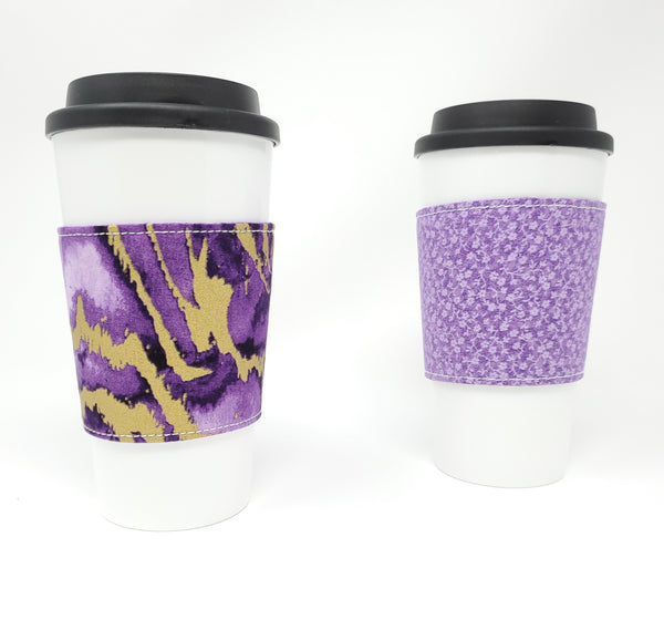 Reusable cup cozy - Purple Reef - Pictured on a cup