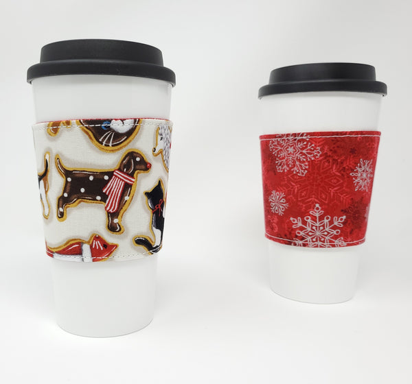 Reusable cup cozy - Holiday Animal Cookies - Pictured on a cup