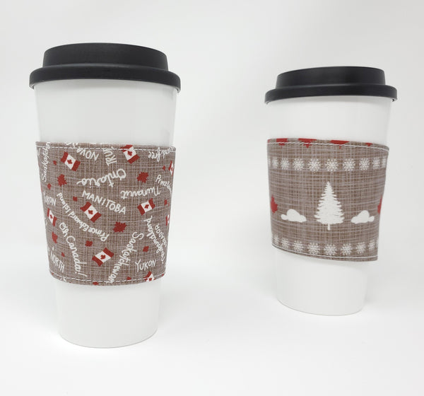 Reusable cup cozy - Canadiana - Pictured on a cup