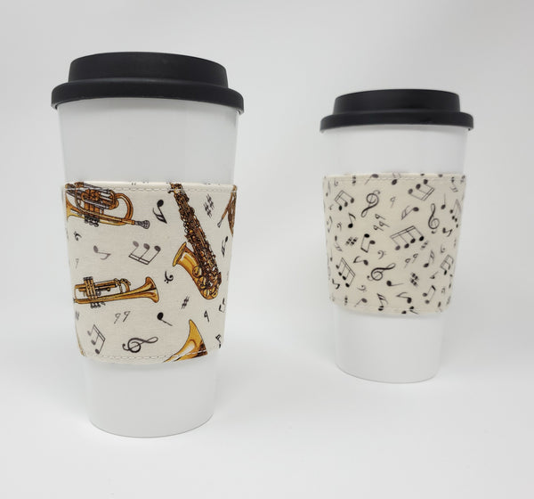Reusable cup cozy - Musical Instruments - Pictured on a cup