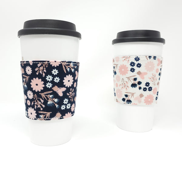 Reusable cup cozy - Rose Gold Flowers - Pictured on a cup