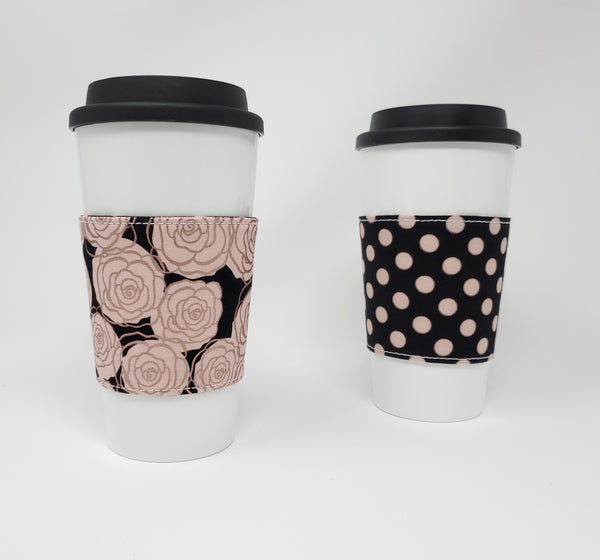Reusable cup cozy - Rose Gold Roses - Pictured on a cup