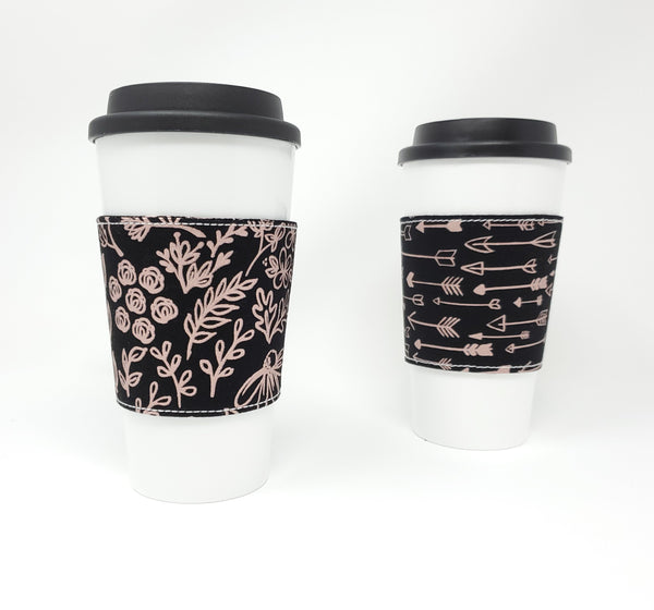 Reusable cup cozy - Rose Gold Outlines - Pictured on a cup