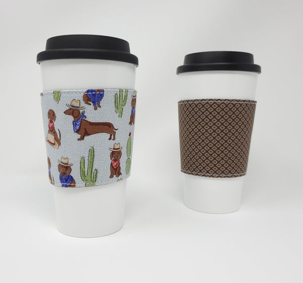Reusable cup cozy - Cowboy Weens - Pictured on a cup