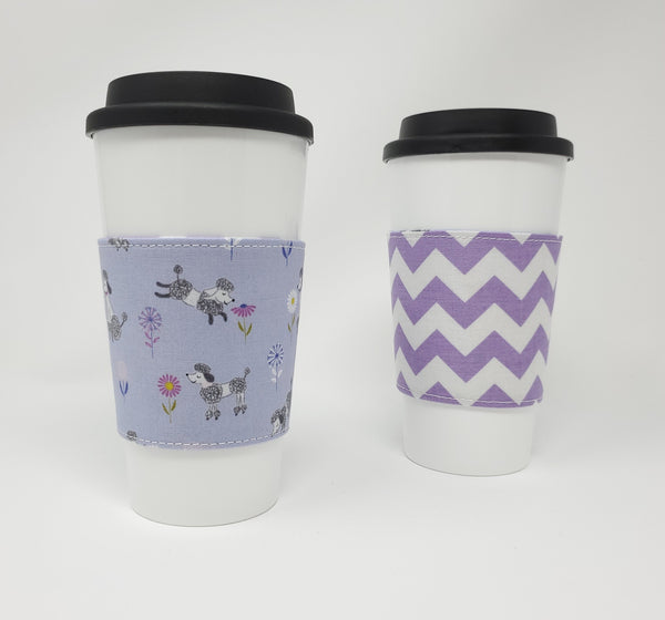 Reusable cup cozy - Purple Poodles - Pictured on a cup