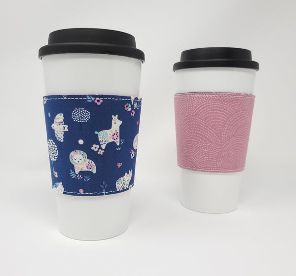 Reusable cup cozy - No Problama - Pictured on a cup