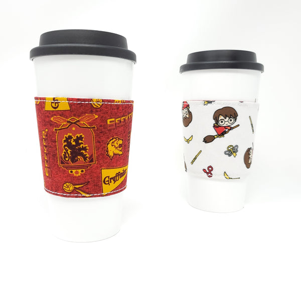 Reusable cup cozy - Harry Potter Seeker - Pictured on a cup