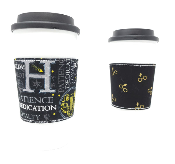 Reusable cup cozy - Hufflepuff Words - Pictured on a cup