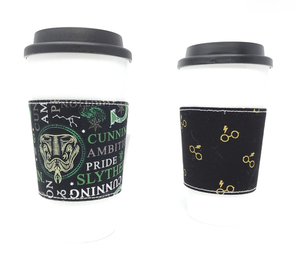Reusable cup cozy - Slytherin Words - Pictured on a cup