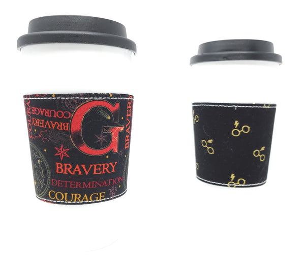 Reusable cup cozy - Gryffindor Words - Pictured on a cup