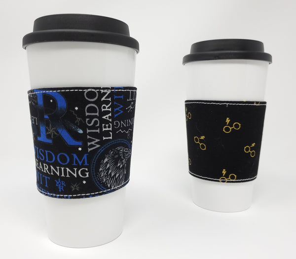 Reusable cup cozy - Ravenclaw Words - Pictured on a cup