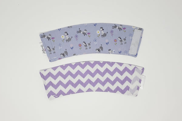 Reusable cup cozy - Purple Poodles - front and back