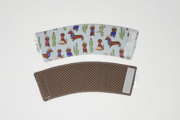 Reusable cup cozy - Cowboy Weens - front and back