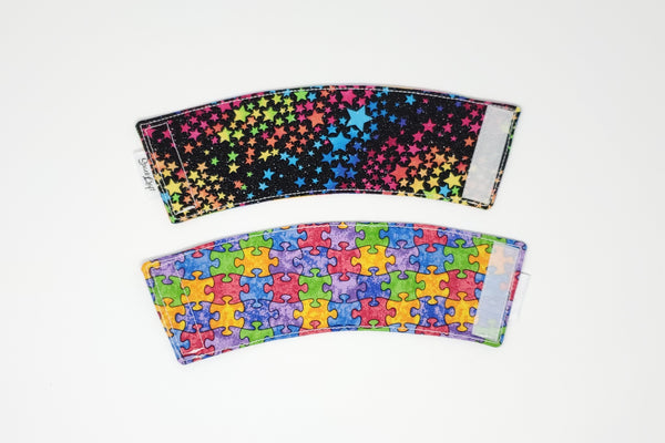 Reusable cup cozy - Glitter Rainbow Stars - front and back