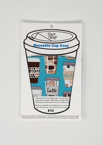 Reusable cup cozy - Teal Coffee Cups - in packaging