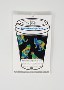 Reusable cup cozy - Tie Dyed Cats - in packaging