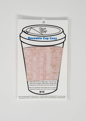 Reusable cup cozy - Pink Uncorked - front and back