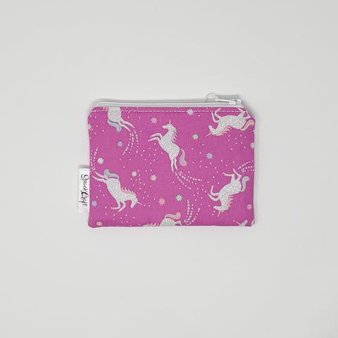 Change Purse - Pink Sparkly Unicorns - Front