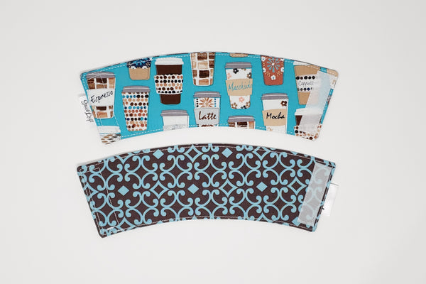 Reusable cup cozy - Teal Coffee Cups - front and back