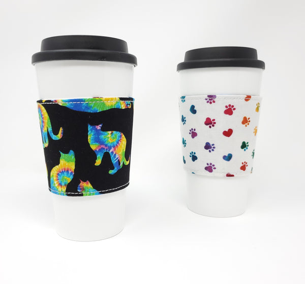 Reusable cup cozy - Tie Dyed Cats - Pictured on a cup