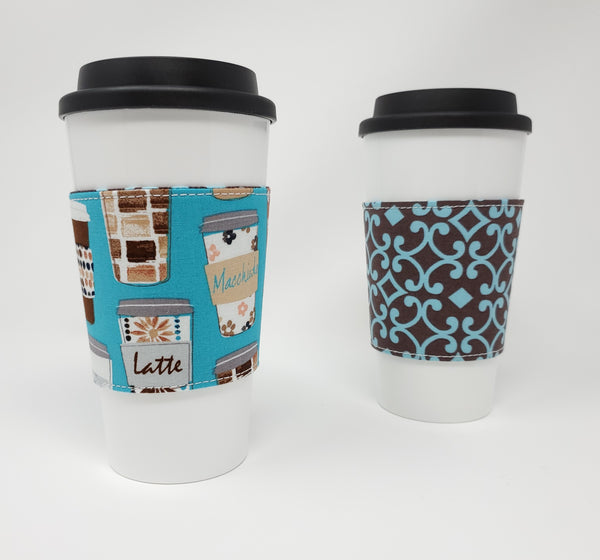 Reusable cup cozy - Teal Coffee Cups - Pictured on a cup