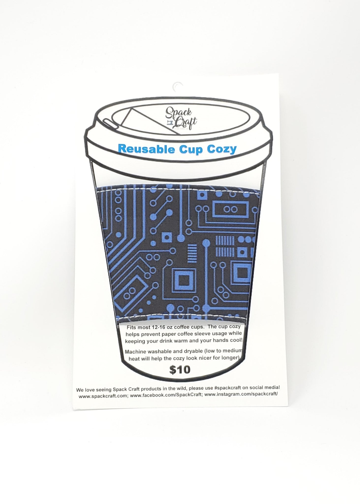 Reusable Cup Cozy - Short Circuit (Blue) - In Packaging