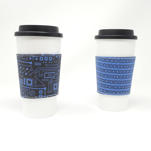 Reusable Cup Cozy - Short Circuit (Blue) - displayed on a cup