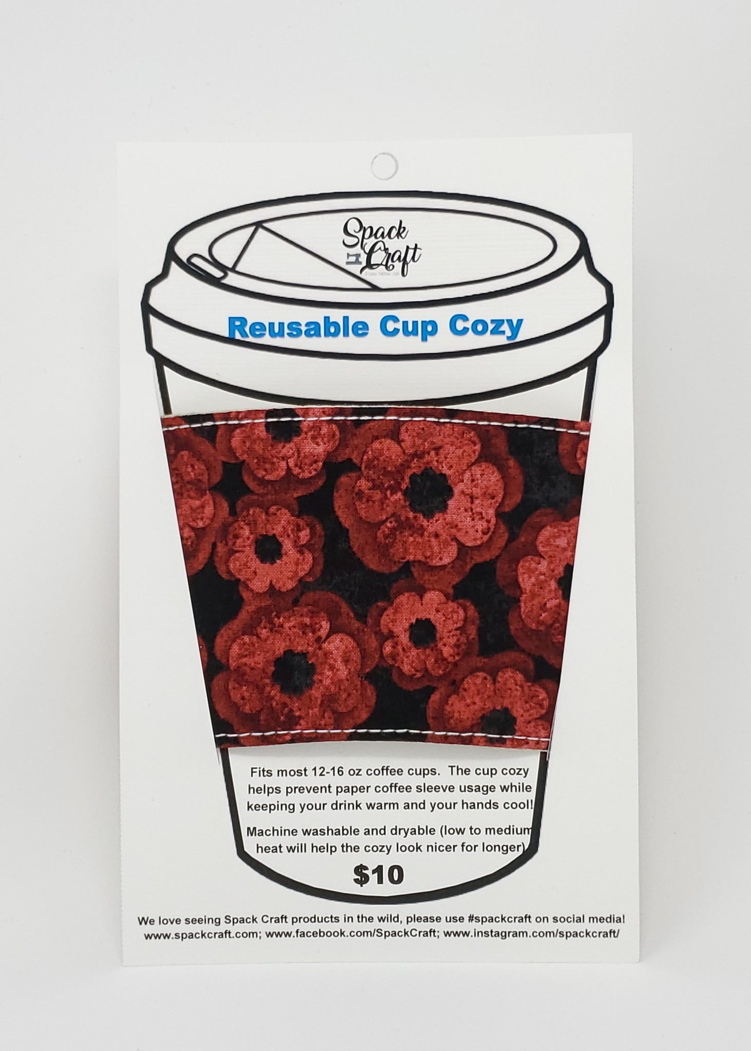 Reusable Cup Cozy - Poppy