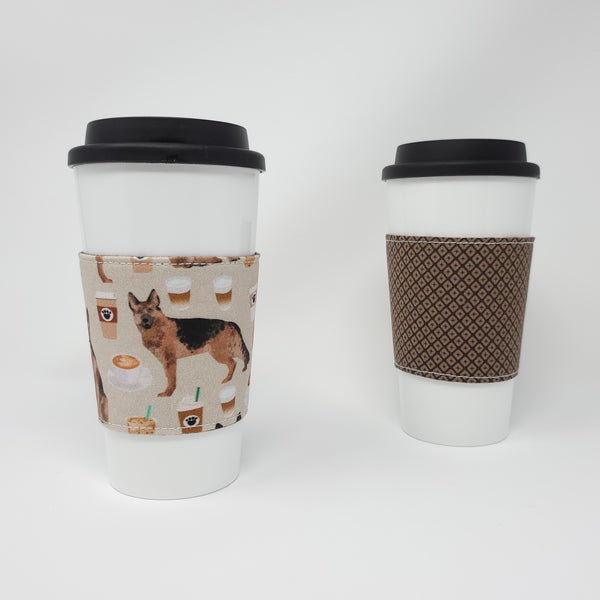 Reusable Cup Cozy - Coffee and German Shepherds