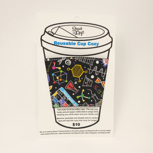 Reusable Cup Cozy - Bright Science Doodles
