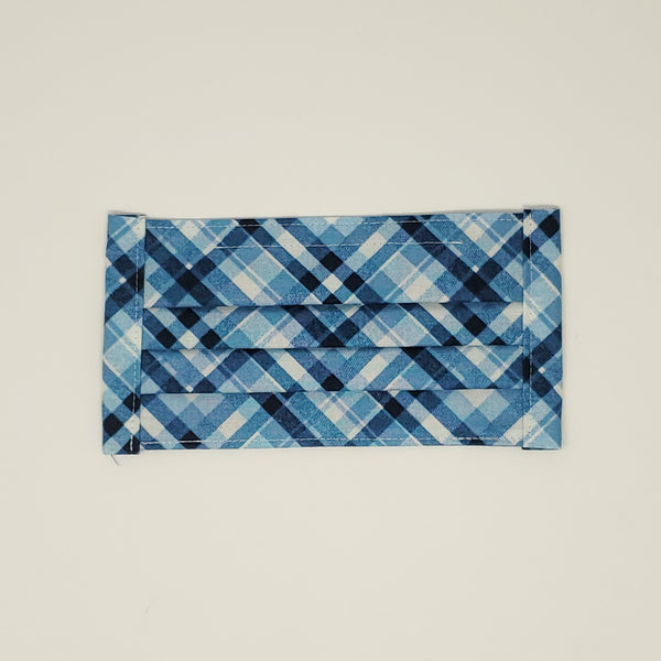 Cotton Mask - Blue Argyle