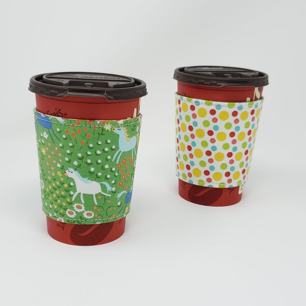 Reusable cup cozy - 50 Shades of Hay - Pictured on a  medium Tim Horton's cup