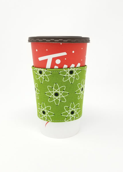 Reusable cup cozy displayed on a large Tim Horton's coffee cup - Atomic Green